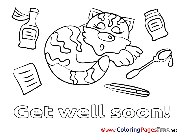 Cat Kids Get well soon Coloring Page