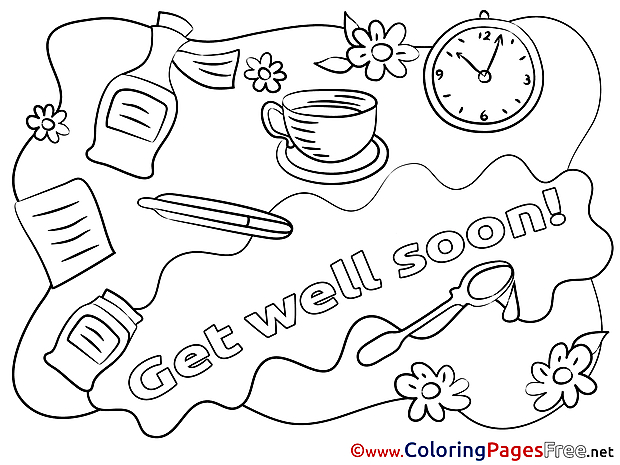 Clock download Get well soon Coloring Pages
