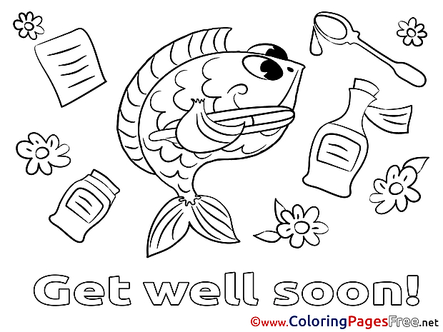 Fish Colouring Page Get well soon