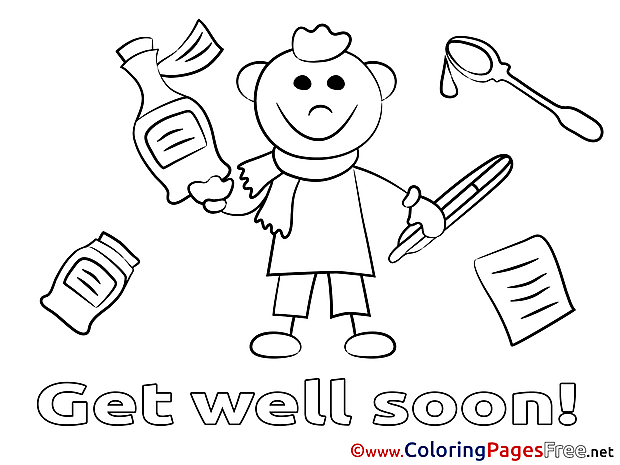 Medicaments Get well soon Coloring Pages free