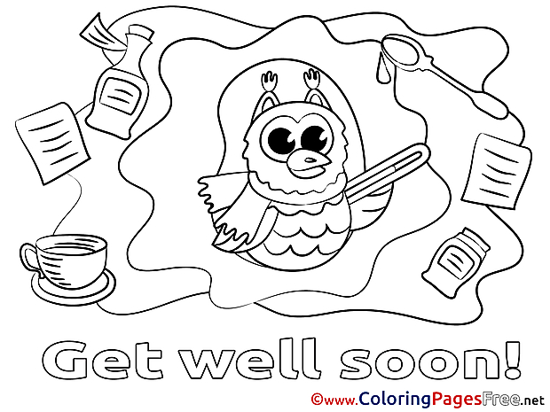 Owl Get well soon Coloring Sheets