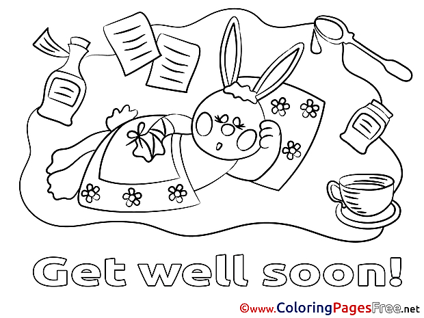 Rabbit free Colouring Page Get well soon