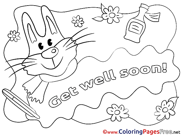 Rabbit Kids Get well soon Coloring Page