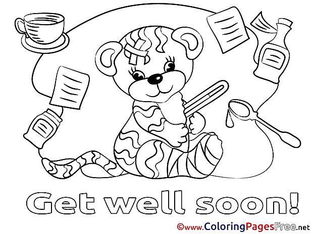 Tiger free Get well soon Coloring Sheets