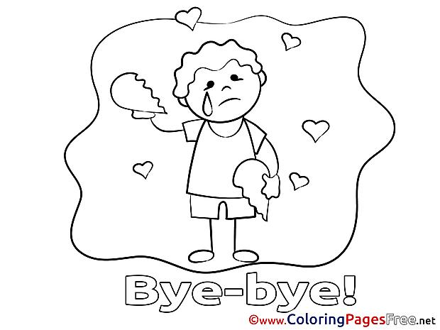 Boy Good bye Colouring Sheet free