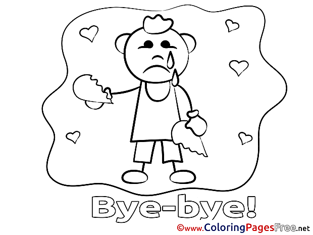 Boy printable Coloring Pages Good bye