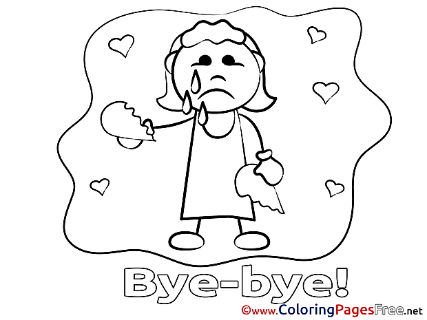 Girl for Kids Good bye Colouring Page