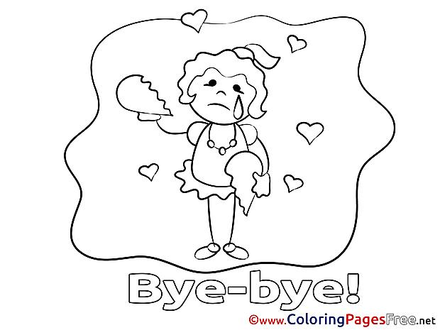 Girl free Good bye Coloring Sheets