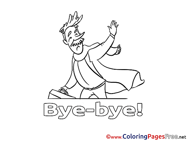 Man free Colouring Page Good bye