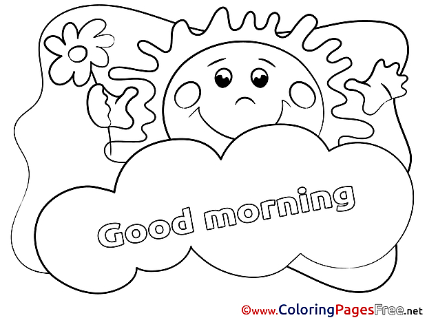 Cloud free Colouring Page Good Morning