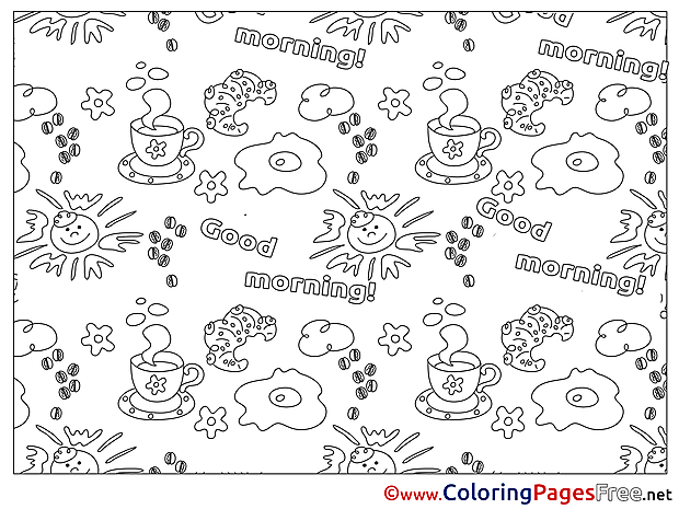 Croissant Kids Good Morning Coloring Page