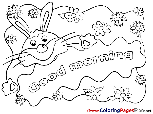 Rabbit Colouring Sheet download Good Morning