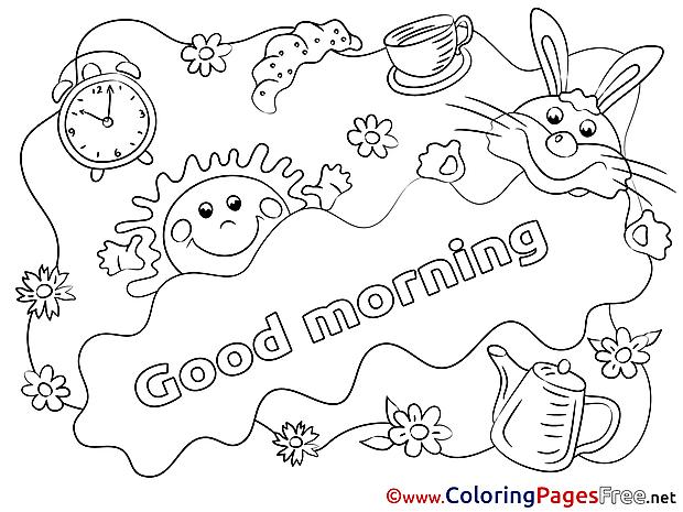 Sun printable Good Morning Coloring Sheets