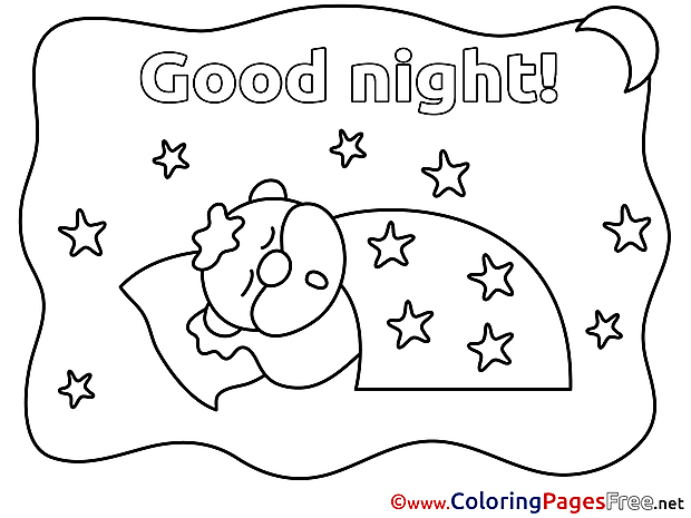 Animal Good Night free Coloring Pages