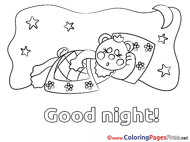 Bear Kids Good Night Coloring Page