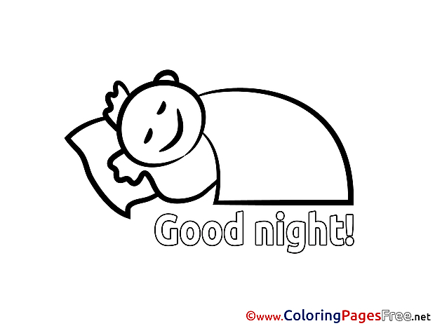 Boy for Kids Good Night Colouring Page
