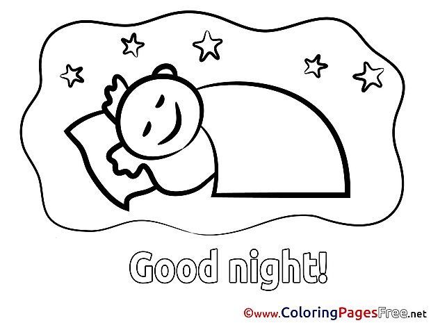 Boy printable Coloring Pages Good Night