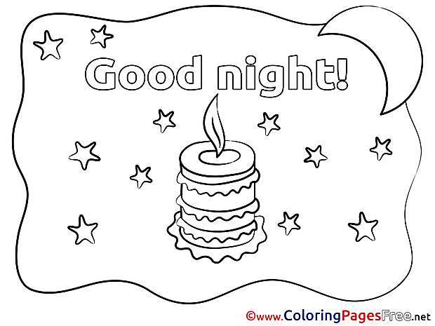 Candle for Kids Good Night Colouring Page