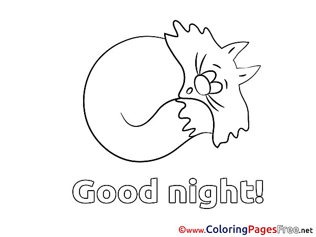 Cat free Colouring Page Good Night