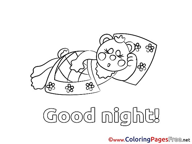 Coloring Pages download Bear Good night