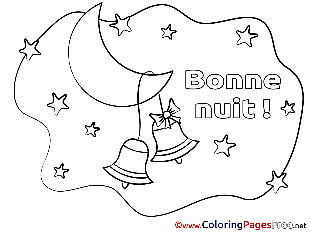 Crescent Bells free Colouring Page Good Night