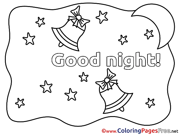 Crescent Bells Good Night Coloring Pages download