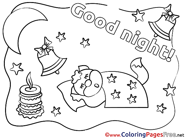 Fox Candle Moon download Good Night Coloring Pages