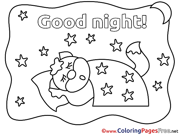Fox Colouring Sheet download Good Night