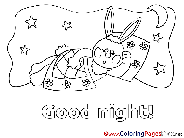 Hare for Kids Good Night Colouring Page
