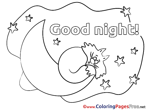 Image Cat Coloring Sheets Good Night free