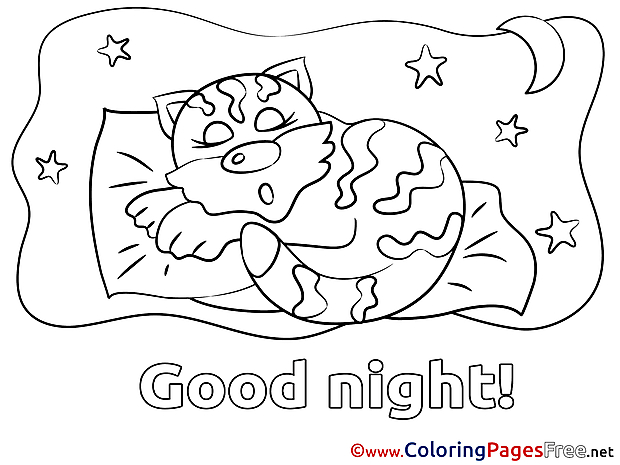 Image Cat Colouring Sheet download Good Night