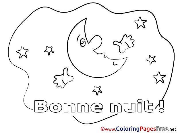 Moon Coloring Pages Good Night for free