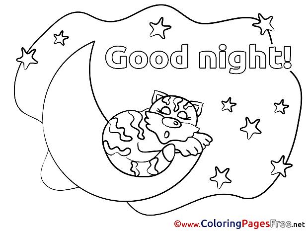 Moon printable Good Night Coloring Sheets