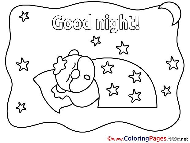 Pillow free Good Night Coloring Sheets