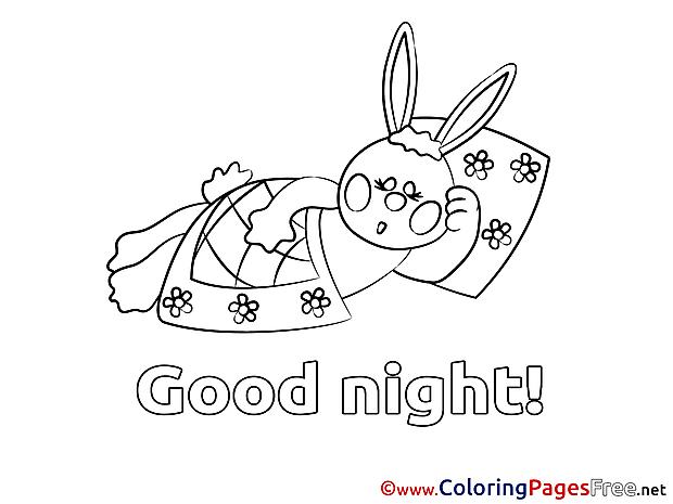 Rabbit Colouring Page Good Night free