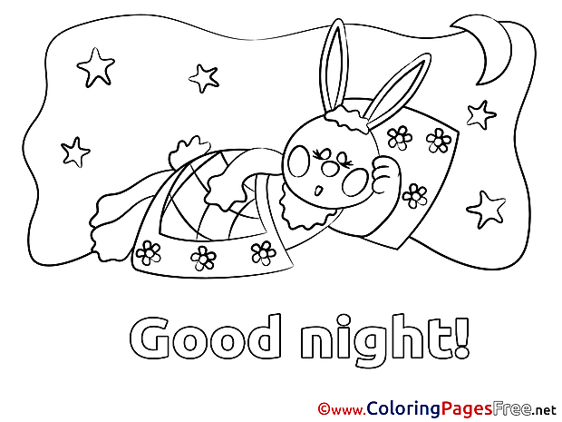 Rabbit Good Night Coloring Pages free