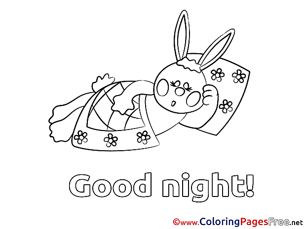 Rabbit Kids Good Night Coloring Pages
