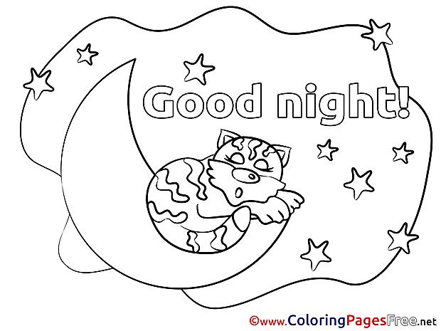 Tiger Sleeping Kids Good Night Coloring Page