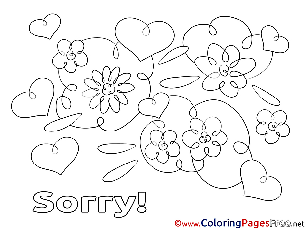 Flowers free Colouring Page Sorry