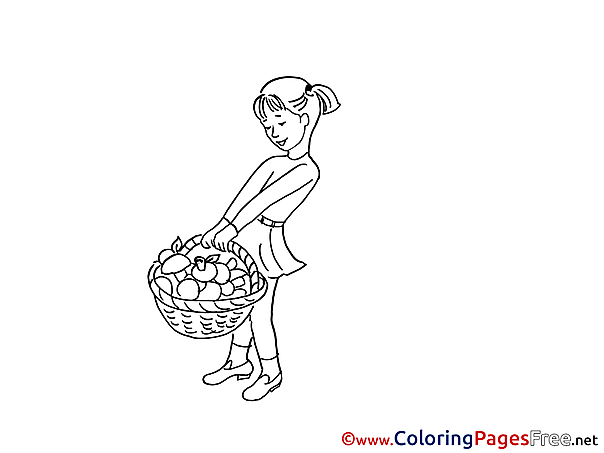 Basket with Mushrooms free Colouring Page download Girl