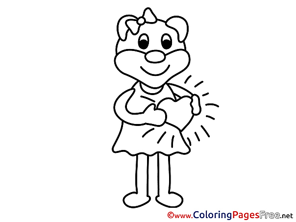 Bear for free Coloring Pages download Heart