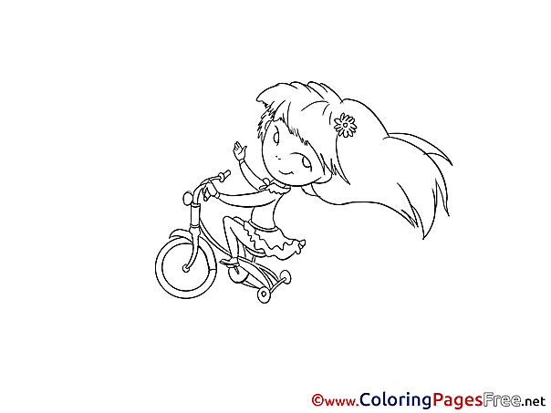 Bicycle Girl printable Coloring Pages for free