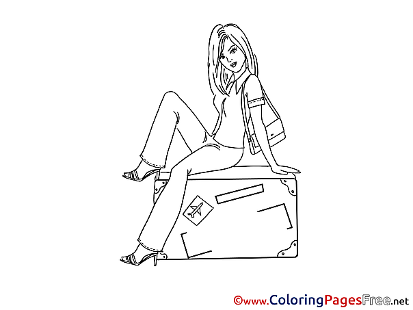 Box Children download Woman Colouring Page