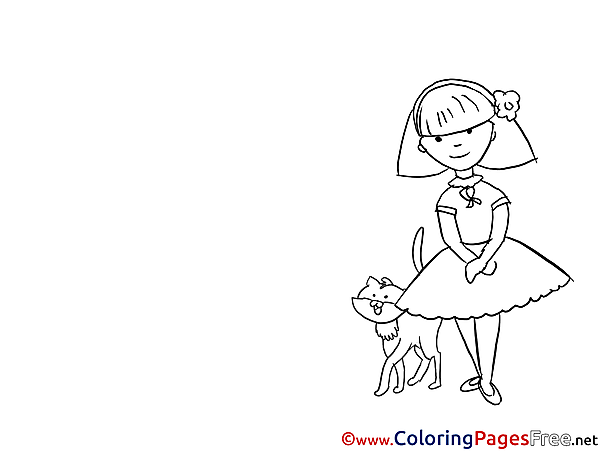 Cat with Girl Coloring Pages for free