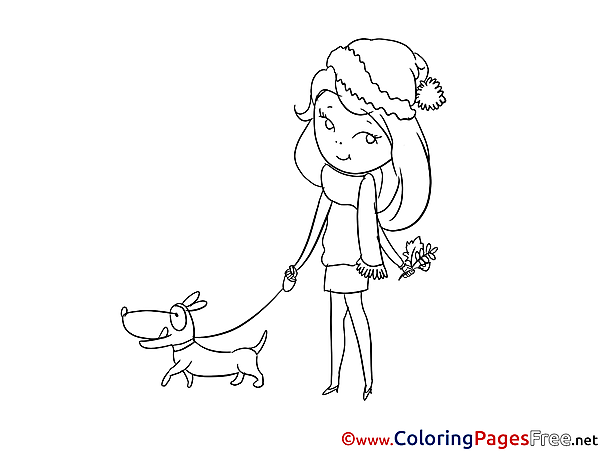 Dog Girl Coloring Sheets download free