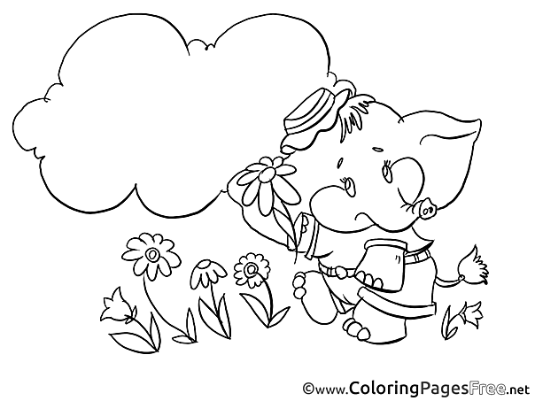 Elephant in Grass for free Coloring Pages download