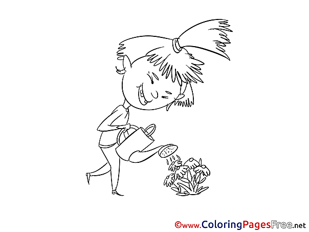 Flowers printable Coloring Pages Girl for free