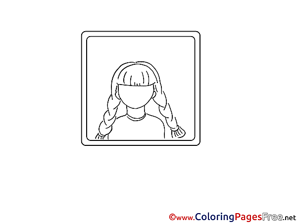 Frame download Colouring Sheet Girl free