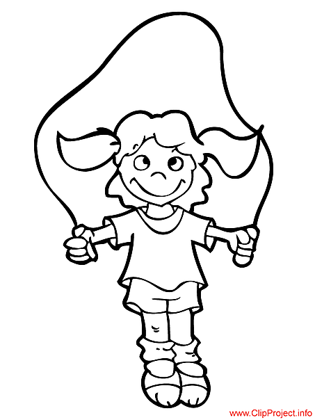 Girl jumping picture to color