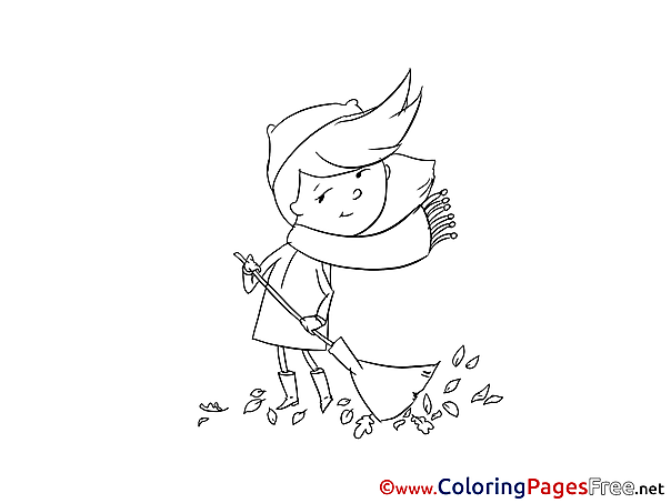 Girl Sweeping Leaves Colouring Page printable free